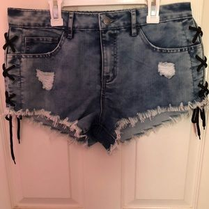 FOREVER21 BLUE LACE UP SHORTS